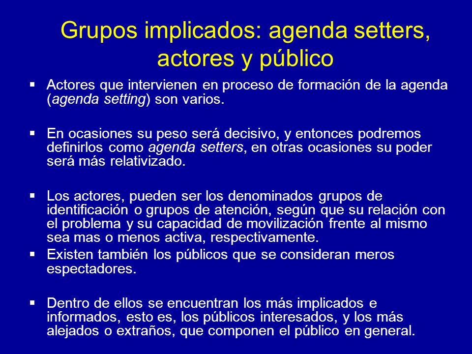 Grupos implicados: agenda setters, actores y público