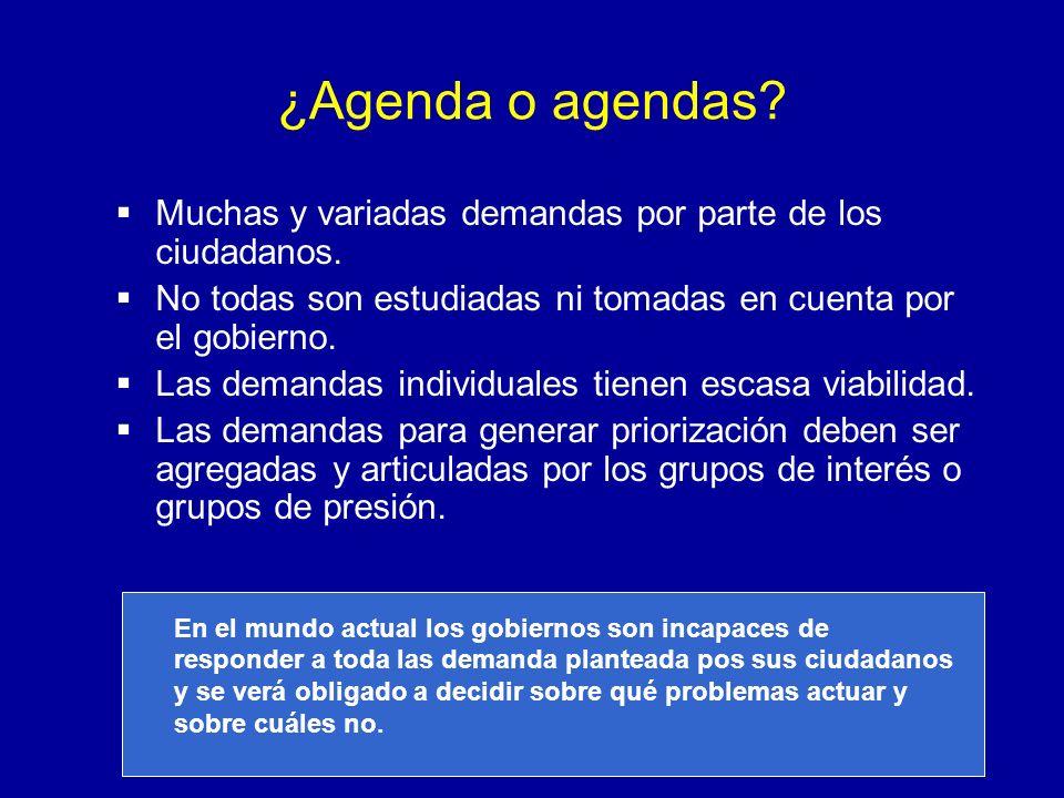 ¿Agenda o agendas Muchas y variadas demandas por parte de los ciudadanos. No todas son estudiadas ni tomadas en cuenta por el gobierno.
