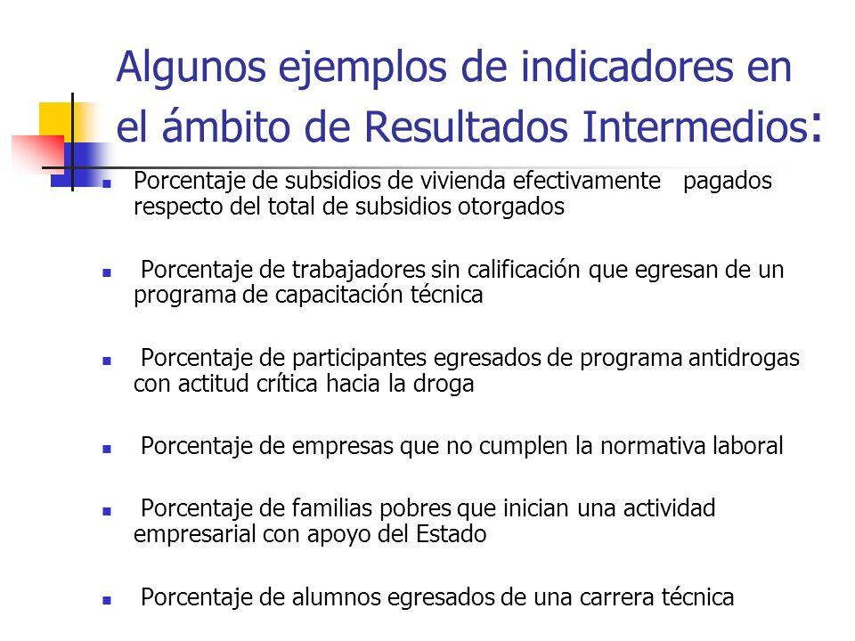 Algunos ejemplos de indicadores en el ámbito de Resultados Intermedios: