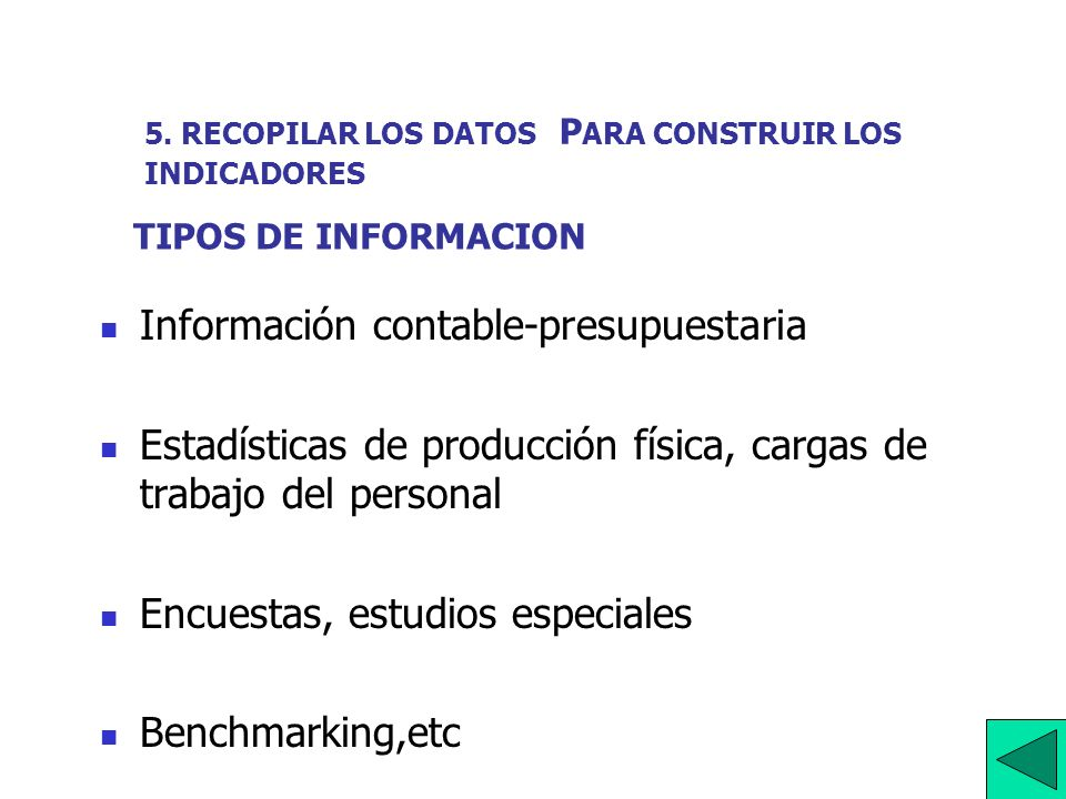 5. RECOPILAR LOS DATOS PARA CONSTRUIR LOS INDICADORES