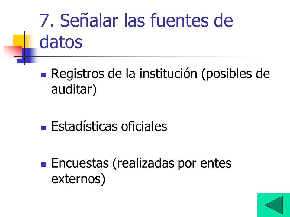 7. Señalar las fuentes de datos