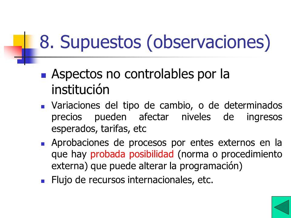 8. Supuestos (observaciones)