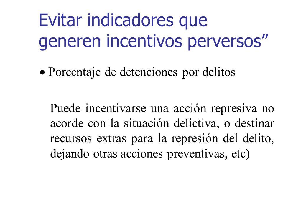 Evitar indicadores que generen incentivos perversos