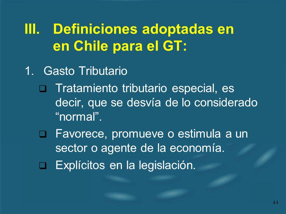 III. Definiciones adoptadas en en Chile para el GT: