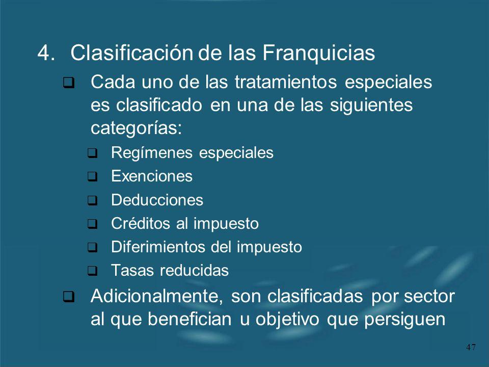 4. Clasificación de las Franquicias