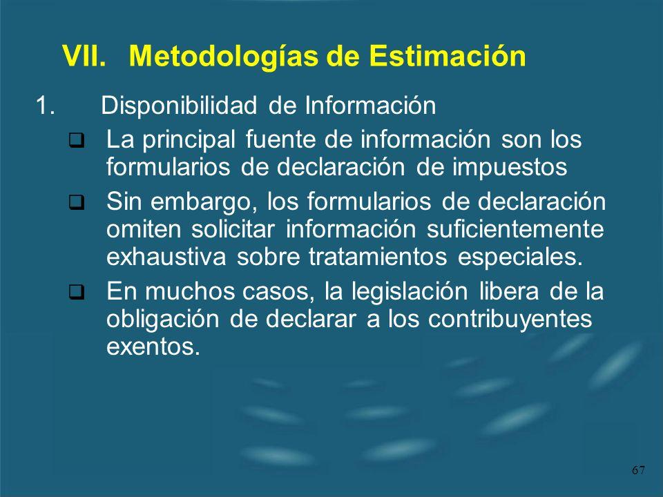 VII. Metodologías de Estimación