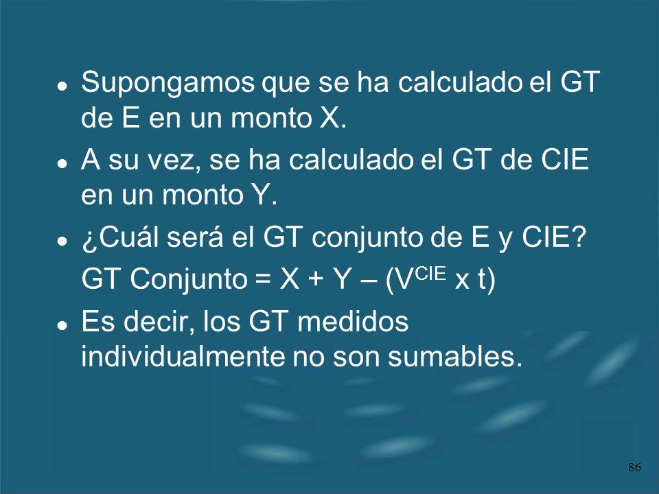 Supongamos que se ha calculado el GT de E en un monto X.