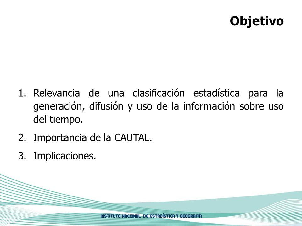 ObjetivoRelevancia de una clasificación estadística para la generación, difusión y uso de la información sobre uso del tiempo.