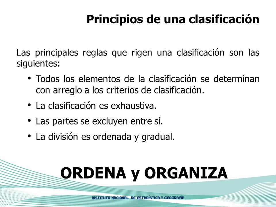 Principios de una clasificación