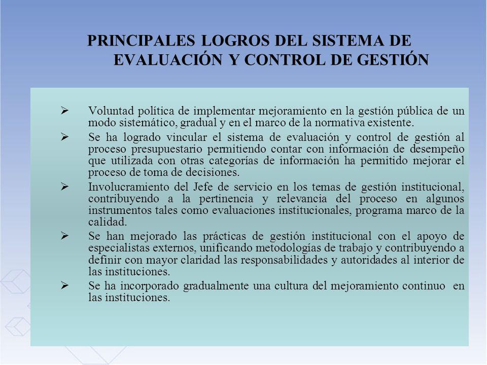 PRINCIPALES LOGROS DEL SISTEMA DE EVALUACIÓN Y CONTROL DE GESTIÓN