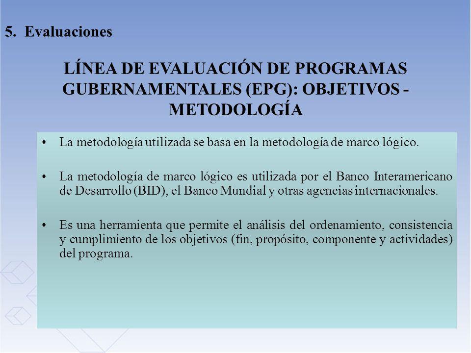 5. Evaluaciones LÍNEA DE EVALUACIÓN DE PROGRAMAS GUBERNAMENTALES (EPG): OBJETIVOS - METODOLOGÍA.