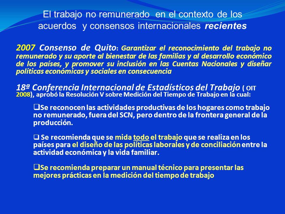 2007 Consenso de Quito: Garantizar el reconocimiento del trabajo no remunerado y su aporte al bienestar de las familias y al desarrollo económico de los países, y promover su inclusión en las Cuentas Nacionales y diseñar políticas económicas y sociales en consecuencia