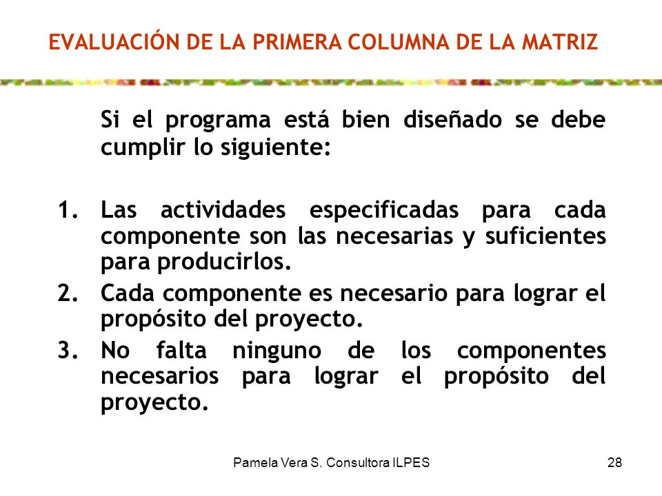 EVALUACIÓN DE LA PRIMERA COLUMNA DE LA MATRIZ