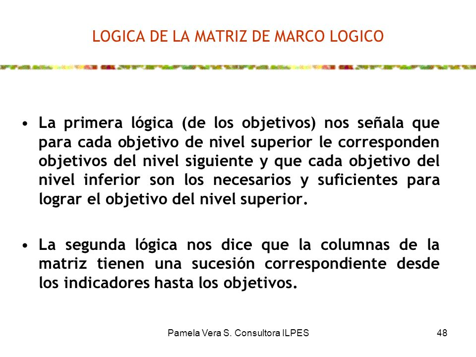 LOGICA DE LA MATRIZ DE MARCO LOGICO