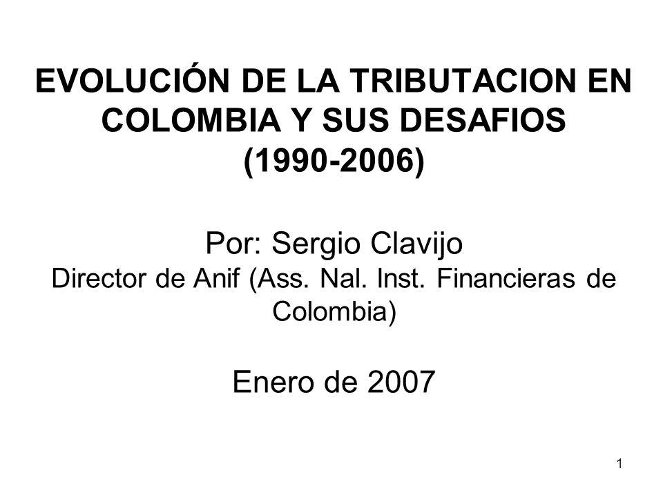 EVOLUCIÓN DE LA TRIBUTACION EN COLOMBIA Y SUS DESAFIOS (1990-2006) Por: Sergio Clavijo Director de Anif (Ass.