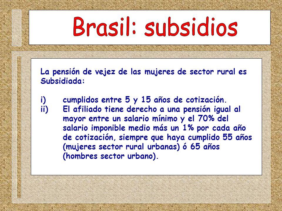 Brasil: subsidiosLa pensión de vejez de las mujeres de sector rural es. Subsidiada: i) cumplidos entre 5 y 15 años de cotización.