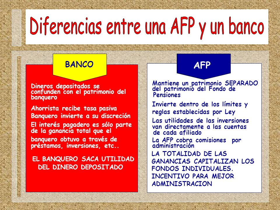 Diferencias entre una AFP y un banco