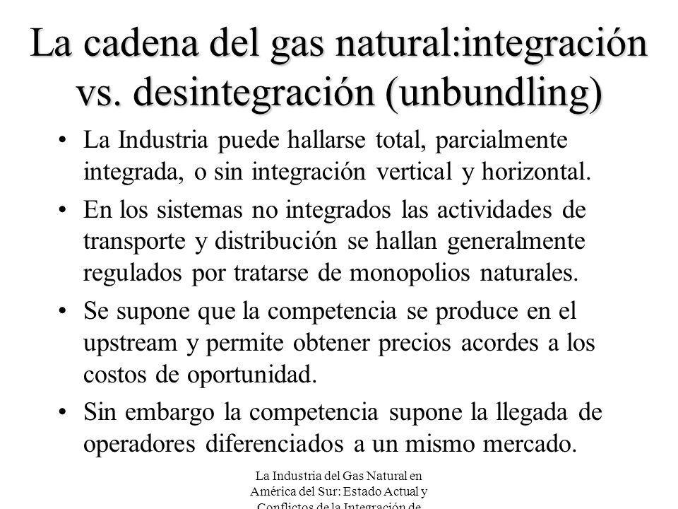 La cadena del gas natural:integración vs. desintegración (unbundling)