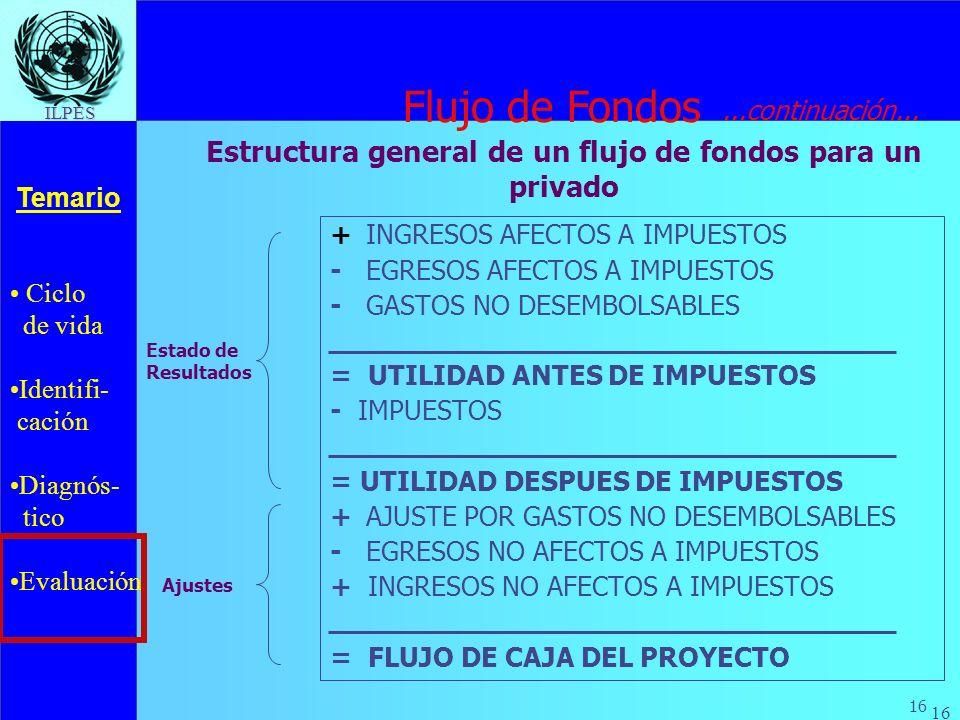 Estructura general de un flujo de fondos para un privado