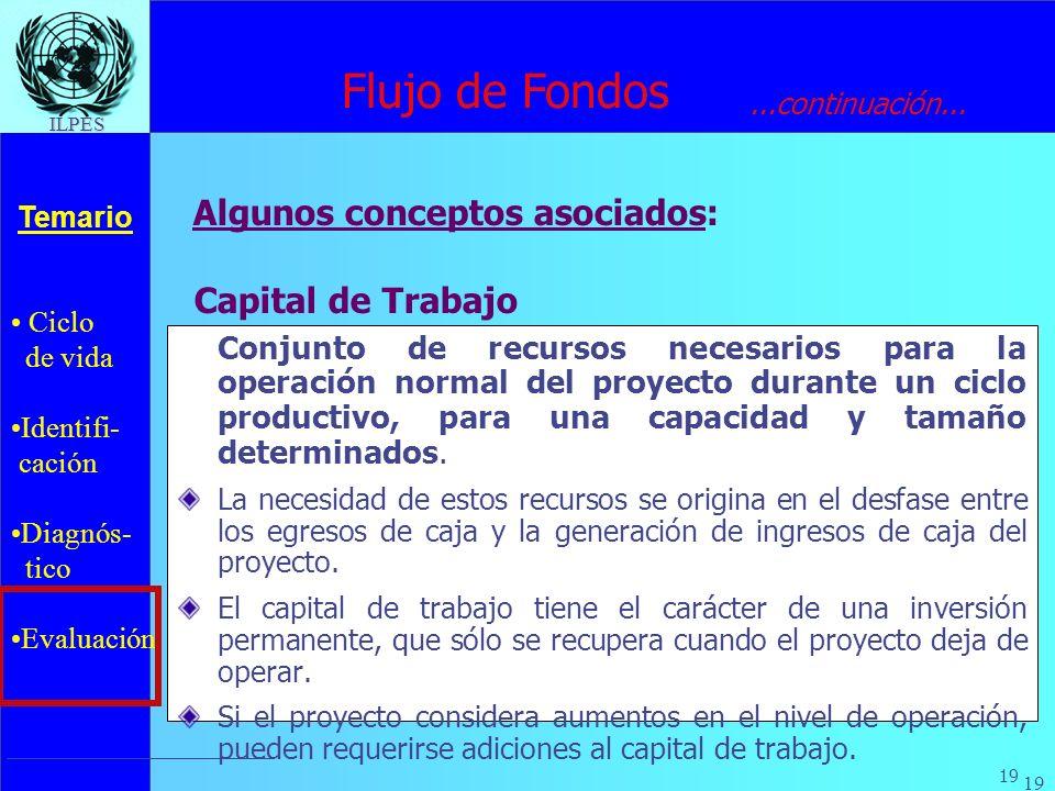 Flujo de Fondos Algunos conceptos asociados: Capital de Trabajo