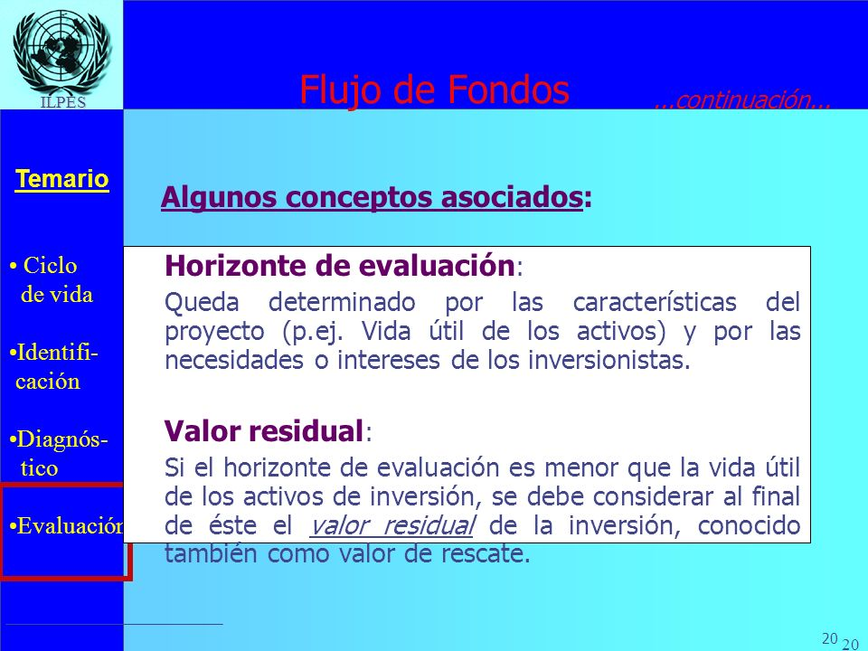Flujo de Fondos Algunos conceptos asociados: Horizonte de evaluación: