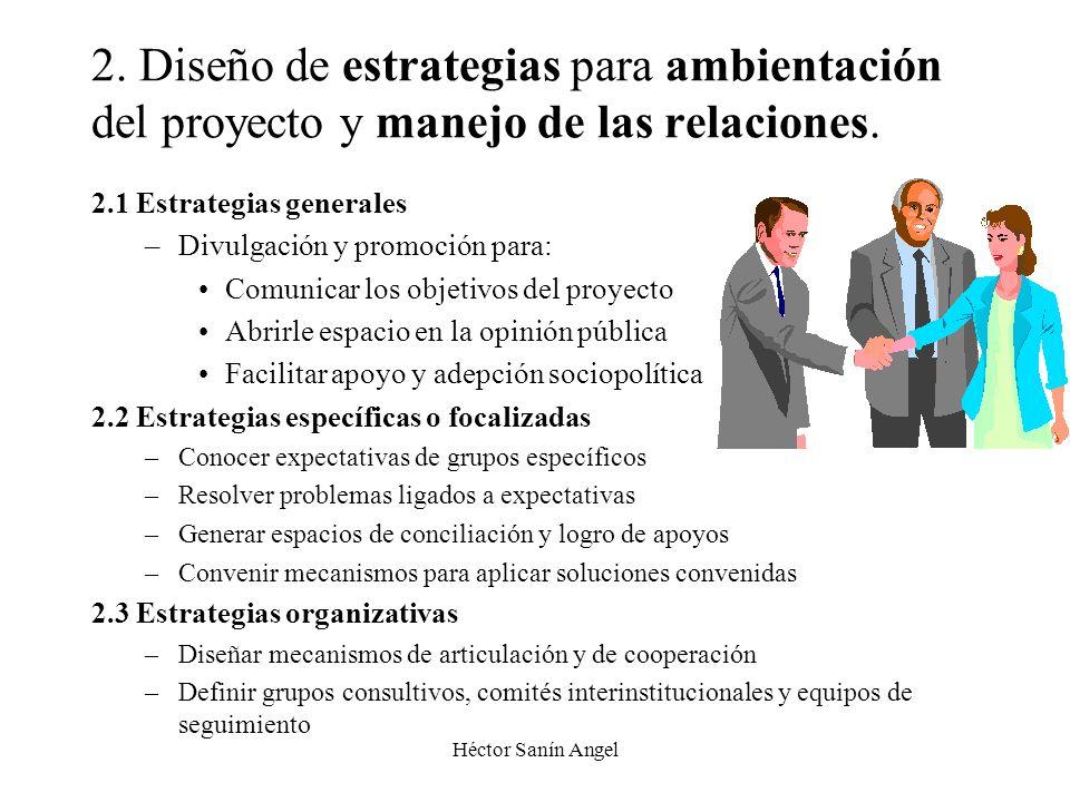 2. Diseño de estrategias para ambientación del proyecto y manejo de las relaciones.