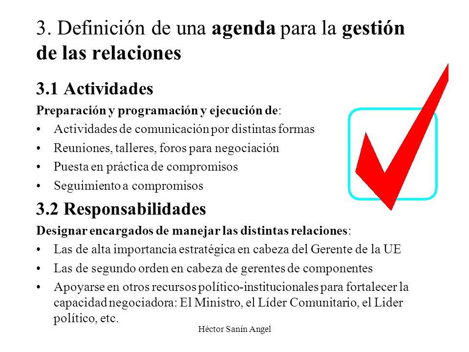 3. Definición de una agenda para la gestión de las relaciones