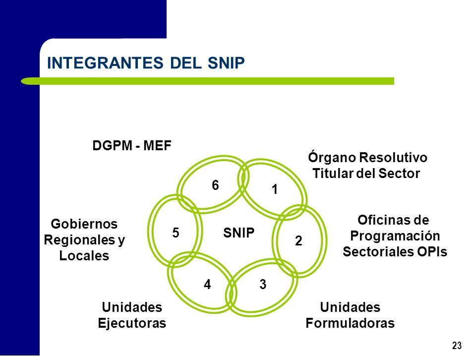INTEGRANTES DEL SNIP DGPM - MEF Órgano Resolutivo Titular del Sector 4