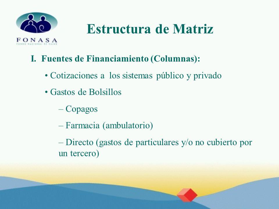 Estructura de Matriz I. Fuentes de Financiamiento (Columnas):