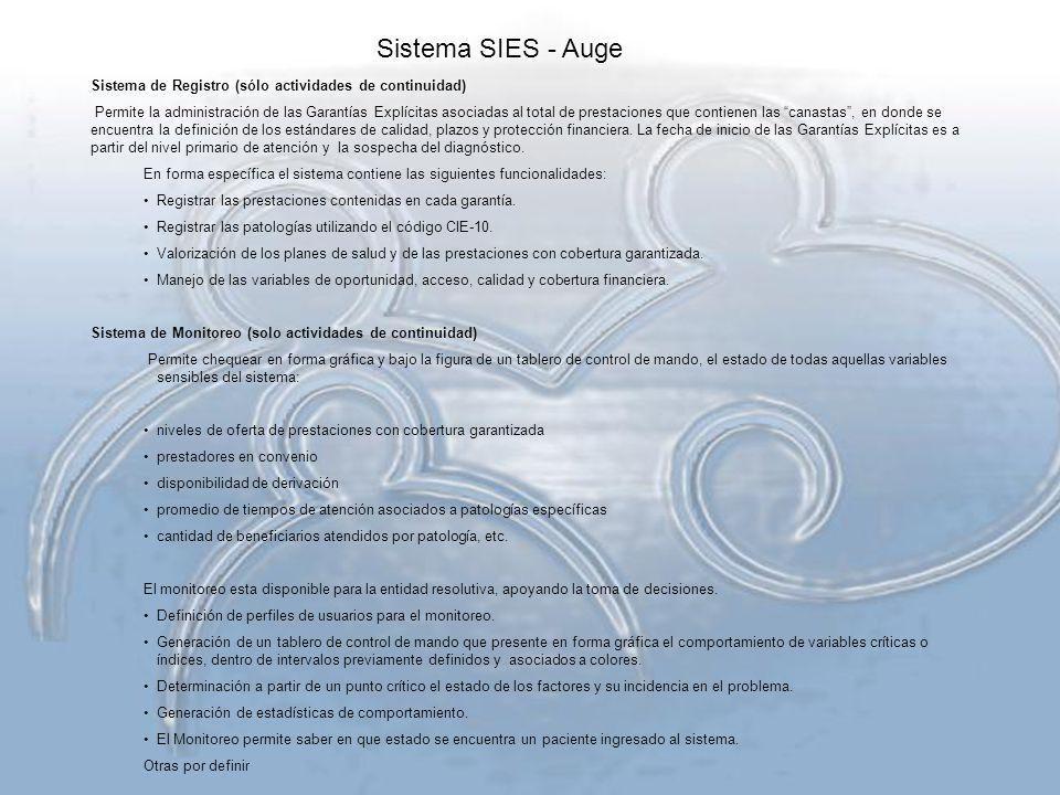 Sistema SIES - Auge Sistema de Registro (sólo actividades de continuidad)