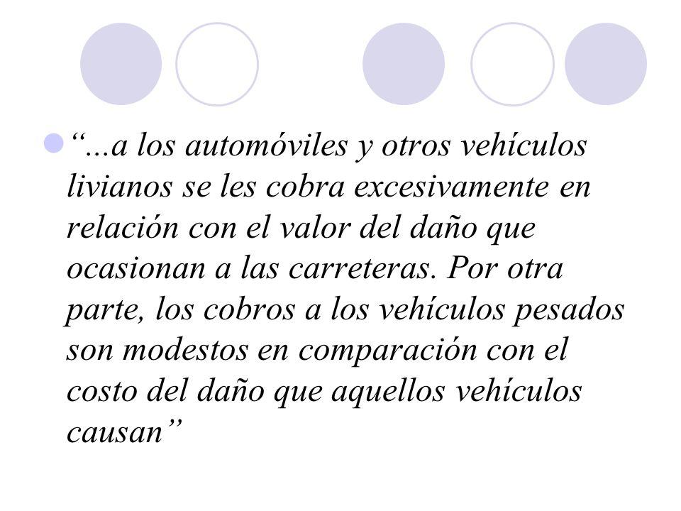 ...a los automóviles y otros vehículos livianos se les cobra excesivamente en relación con el valor del daño que ocasionan a las carreteras.