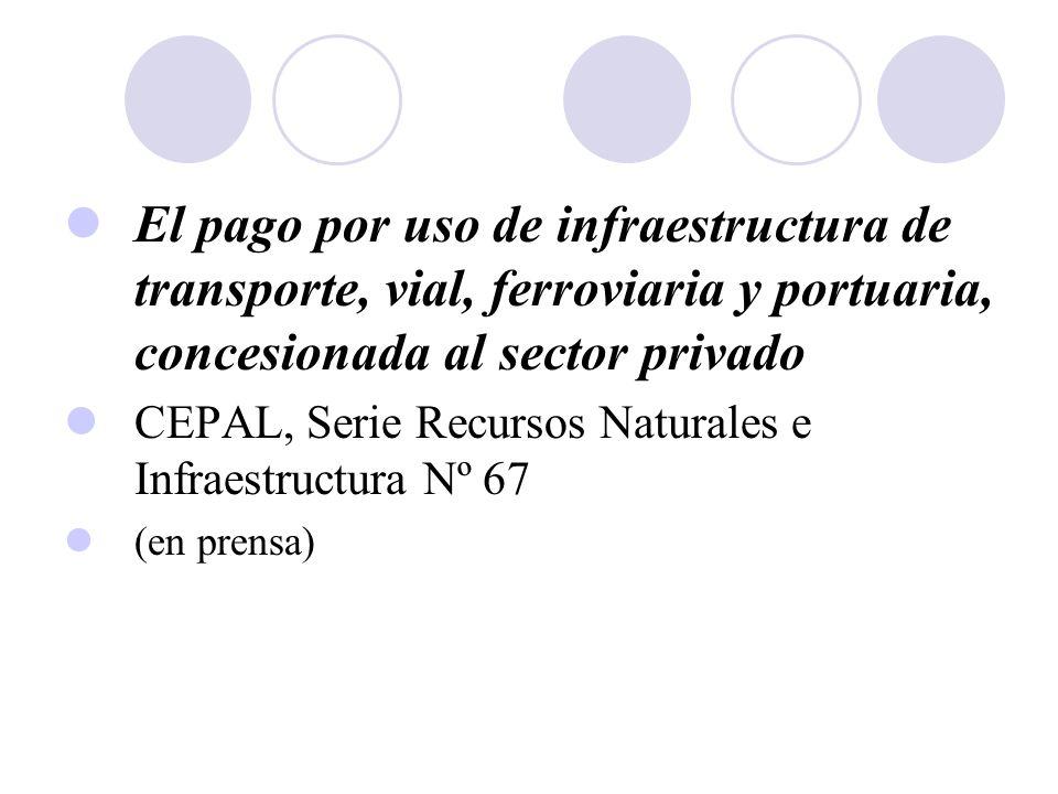 El pago por uso de infraestructura de transporte, vial, ferroviaria y portuaria, concesionada al sector privado