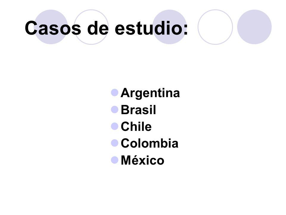Casos de estudio: Argentina Brasil Chile Colombia México