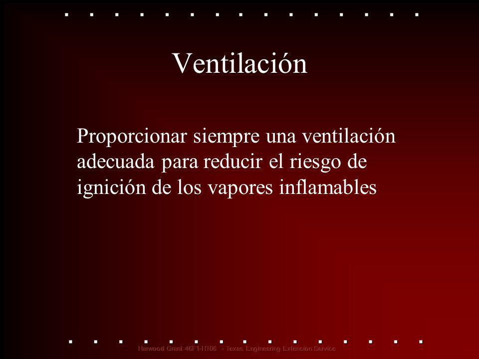 Ventilación Proporcionar siempre una ventilación adecuada para reducir el riesgo de ignición de los vapores inflamables.