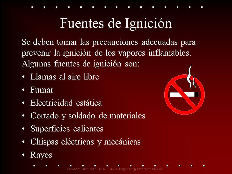 Fuentes de Ignición Se deben tomar las precauciones adecuadas para prevenir la ignición de los vapores inflamables. Algunas fuentes de ignición son: