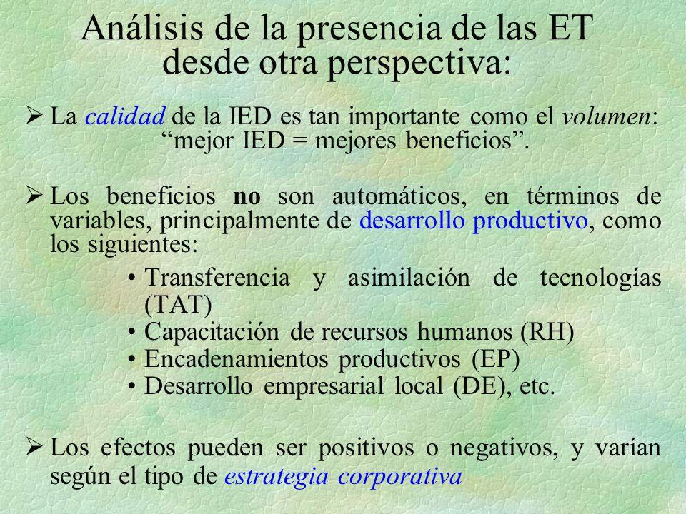 Análisis de la presencia de las ET desde otra perspectiva: