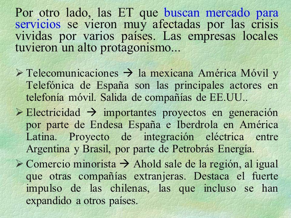 Por otro lado, las ET que buscan mercado para servicios se vieron muy afectadas por las crisis vividas por varios países. Las empresas locales tuvieron un alto protagonismo...