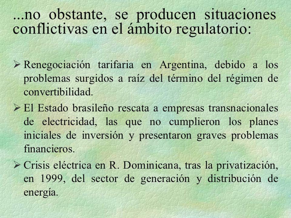 ...no obstante, se producen situaciones conflictivas en el ámbito regulatorio: