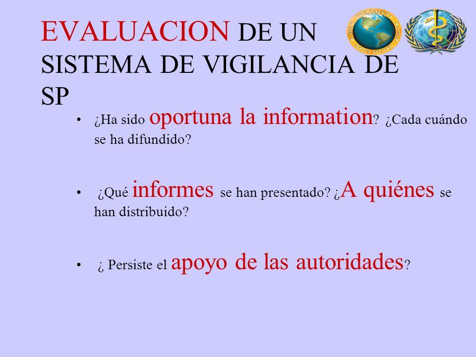 EVALUACION DE UN SISTEMA DE VIGILANCIA DE SP
