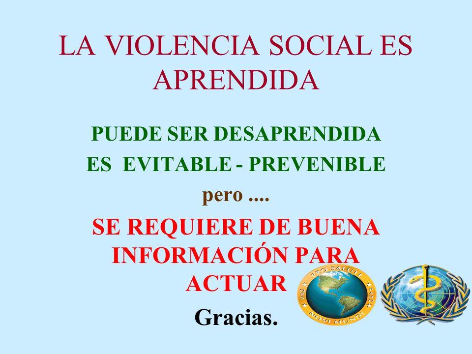 LA VIOLENCIA SOCIAL ES APRENDIDA