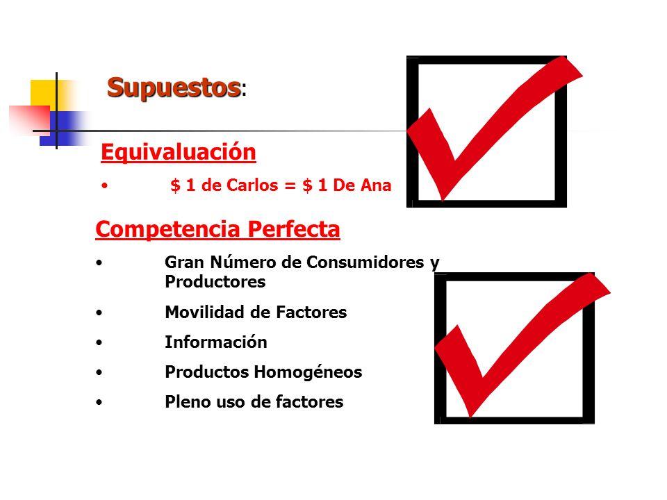 Supuestos: Equivaluación Competencia Perfecta