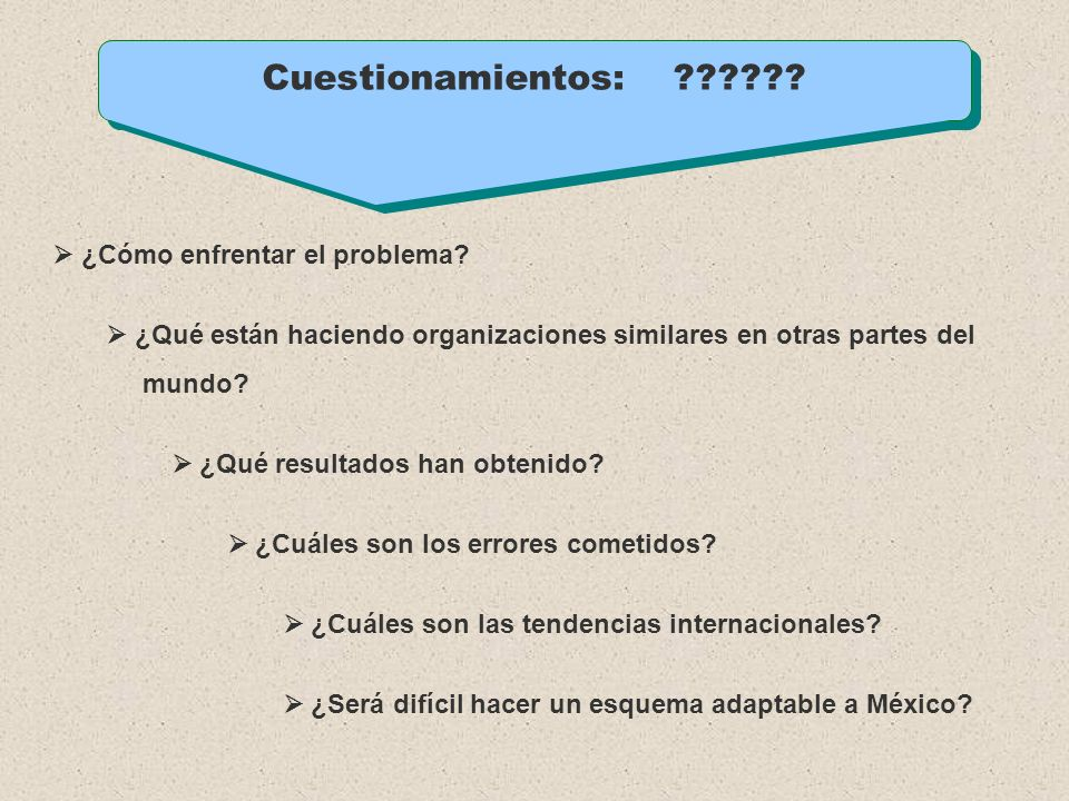 Cuestionamientos:  ¿Cómo enfrentar el problema