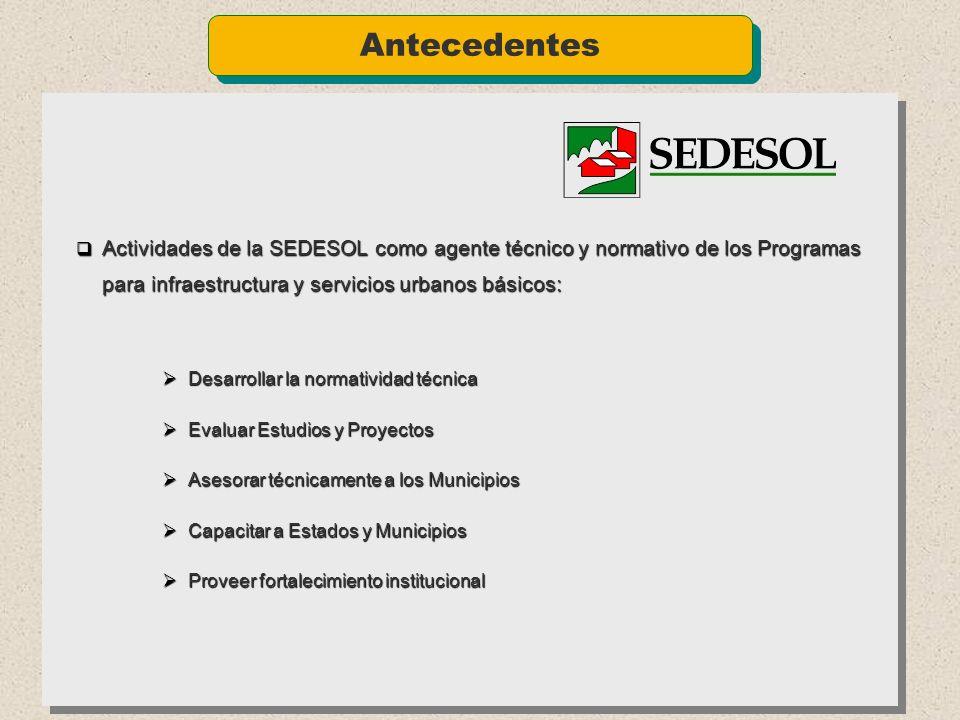 Antecedentes Actividades de la SEDESOL como agente técnico y normativo de los Programas para infraestructura y servicios urbanos básicos: