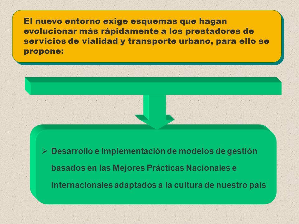 El nuevo entorno exige esquemas que hagan evolucionar más rápidamente a los prestadores de servicios de vialidad y transporte urbano, para ello se propone: