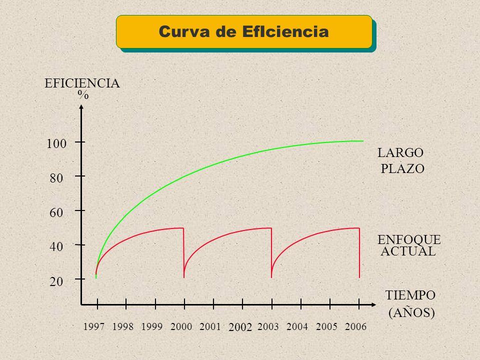 Curva de EfIciencia EFICIENCIA % 100 LARGO PLAZO 80 60 ENFOQUE 40