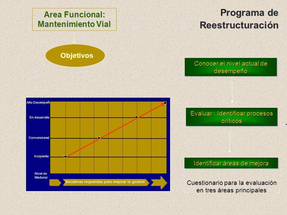 Programa de Reestructuración Area Funcional: Mantenimiento Vial