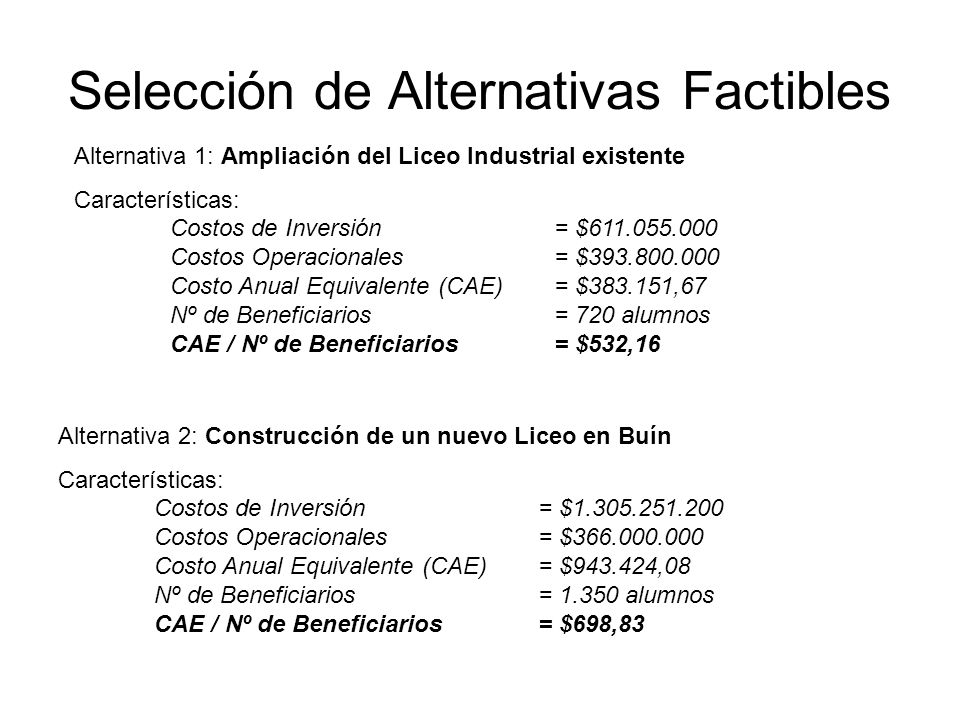 Selección de Alternativas Factibles