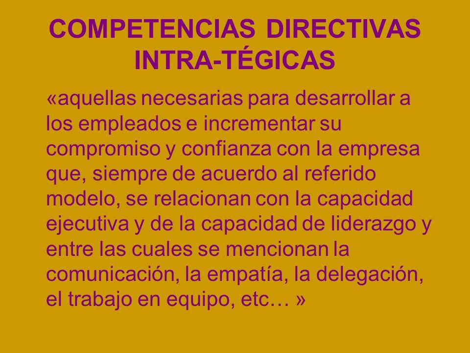 COMPETENCIAS DIRECTIVAS INTRA-TÉGICAS