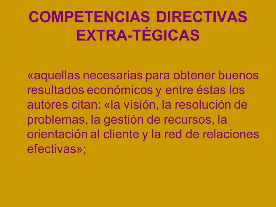 COMPETENCIAS DIRECTIVAS EXTRA-TÉGICAS