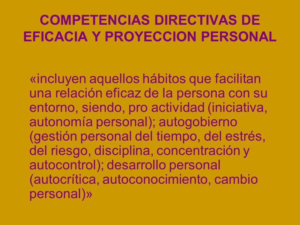 COMPETENCIAS DIRECTIVAS DE EFICACIA Y PROYECCION PERSONAL